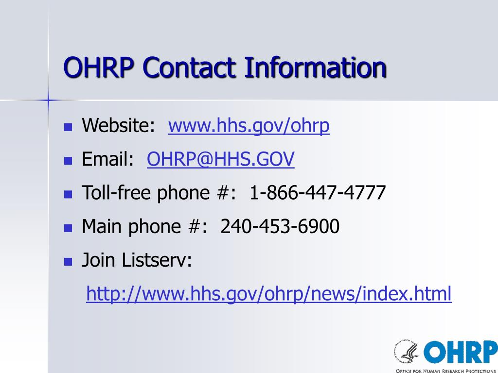 OHRP Contact Information