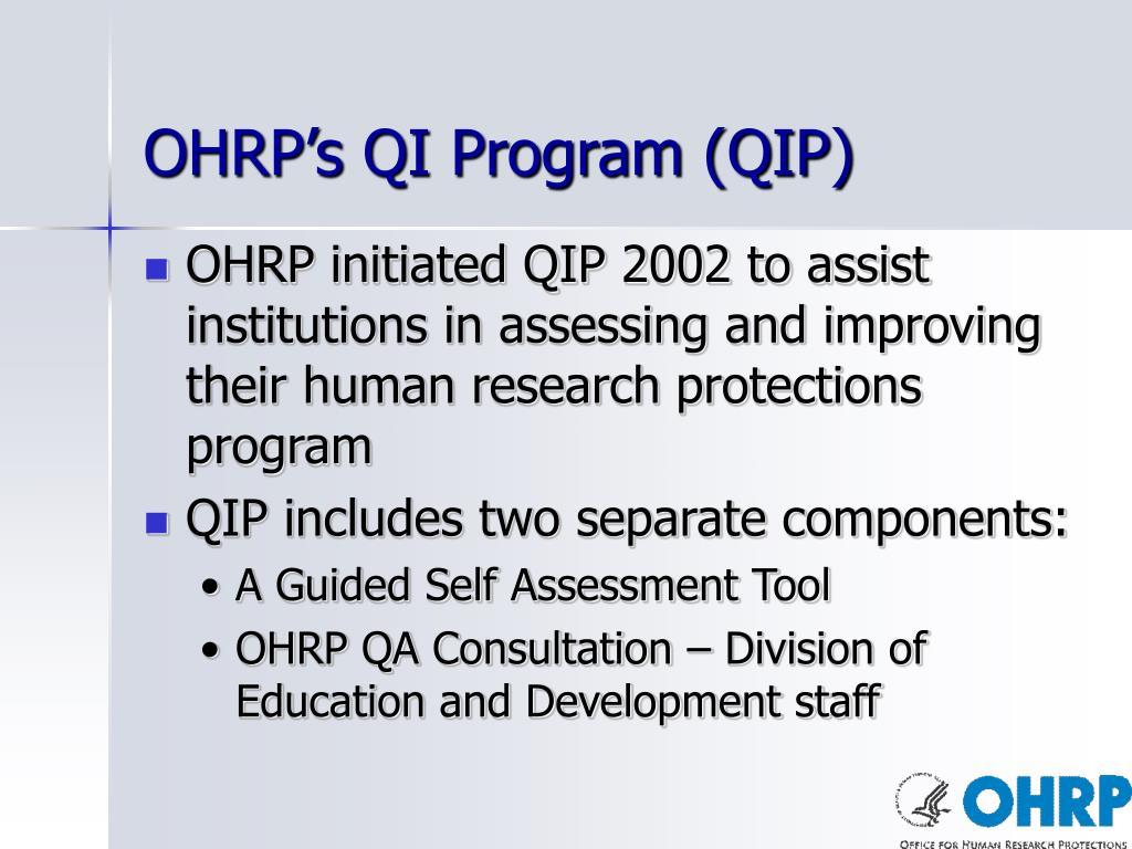 OHRP's QI Program (QIP)