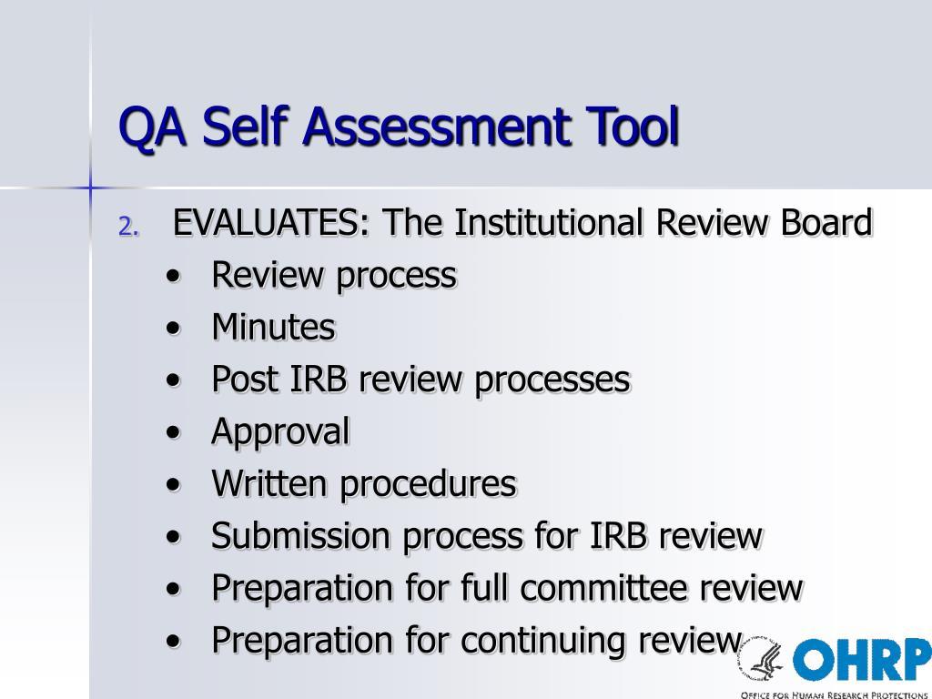 QA Self Assessment Tool