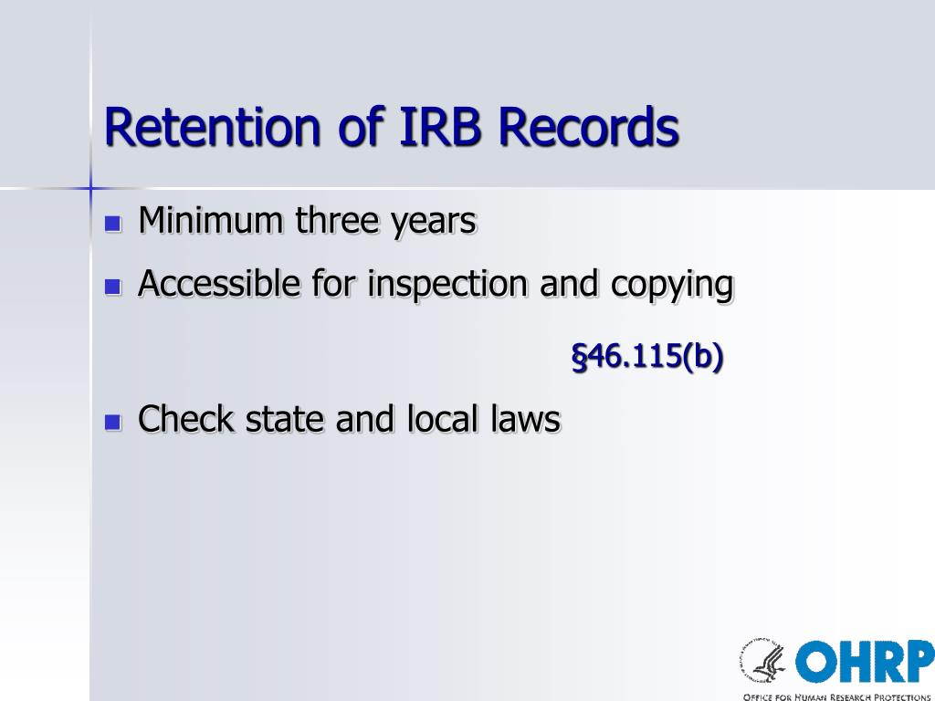 Retention of IRB Records