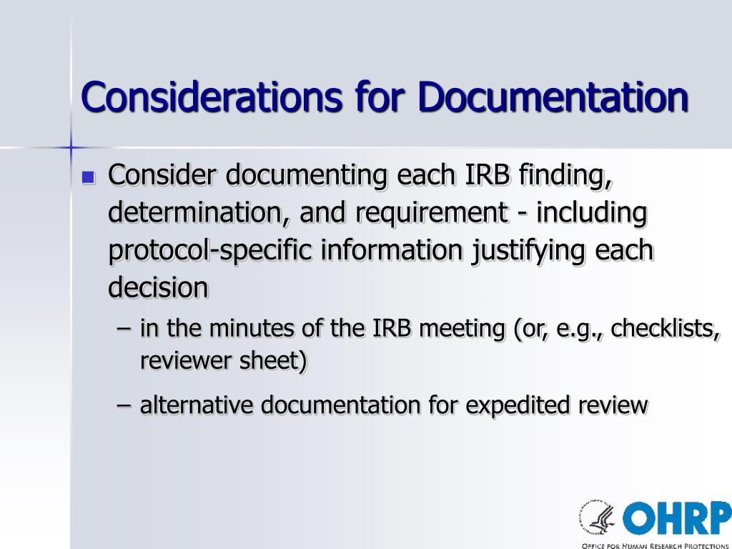 Considerations for Documentation