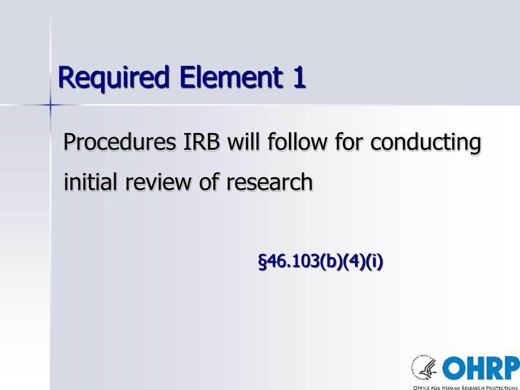 Required Element 1