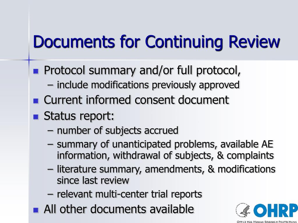 Documents for Continuing Review