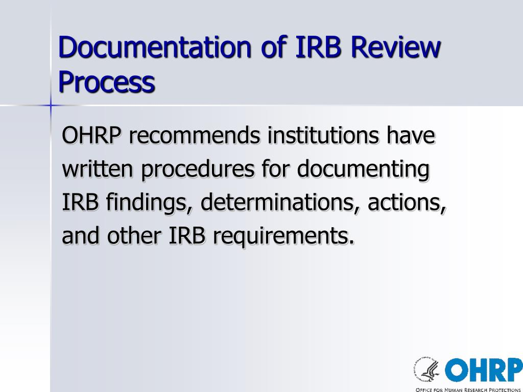 Documentation of IRB Review Process