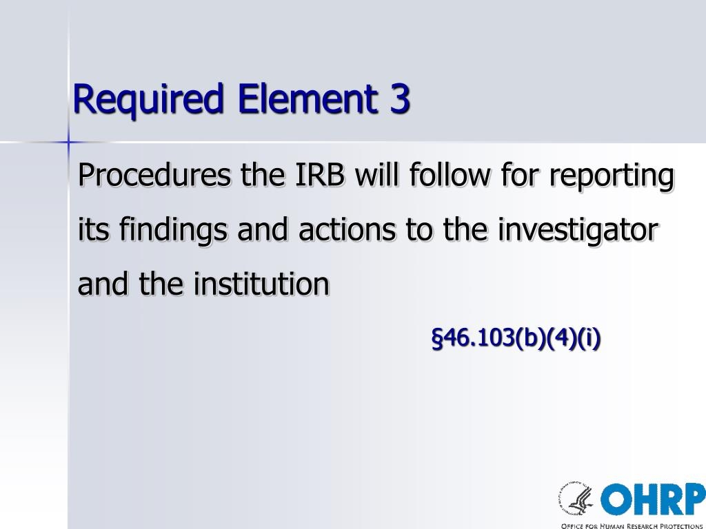 Required Element 3