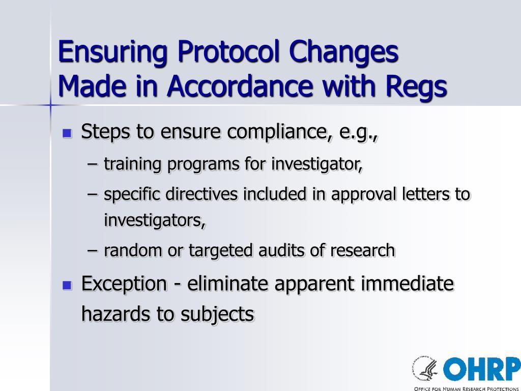 Ensuring Protocol Changes