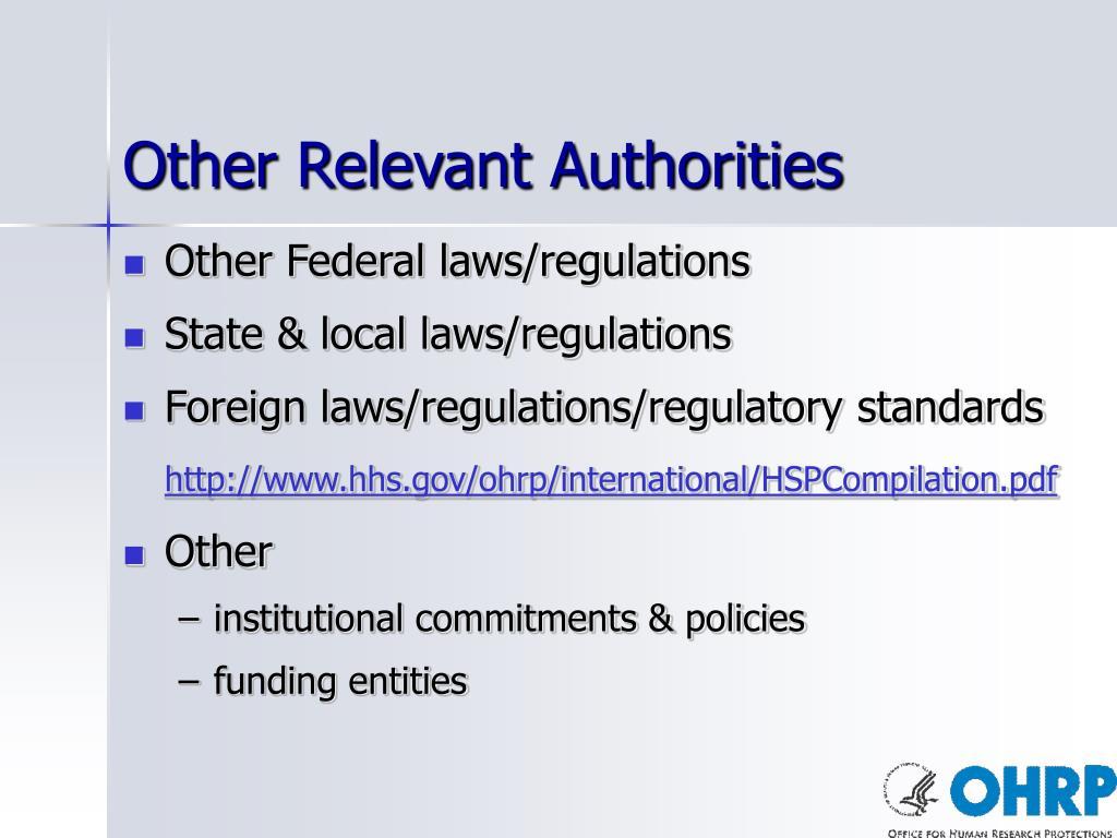 Other Relevant Authorities