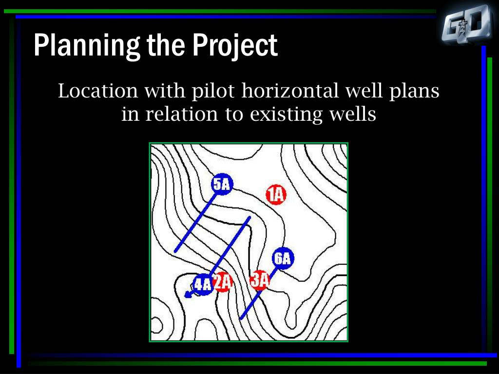 Location with pilot horizontal well plans in relation to existing wells
