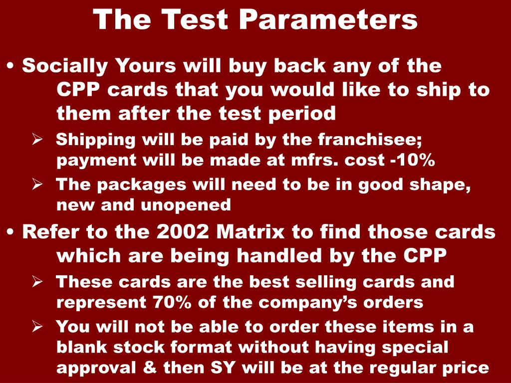 The Test Parameters