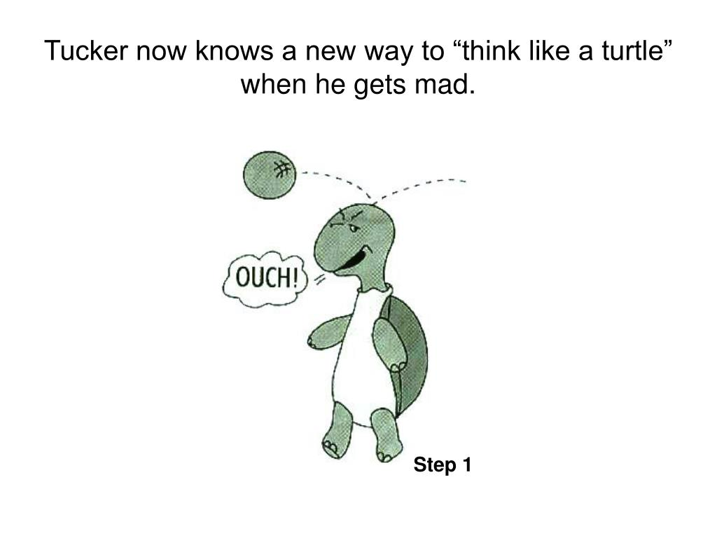 "Tucker now knows a new way to ""think like a turtle"" when he gets mad."