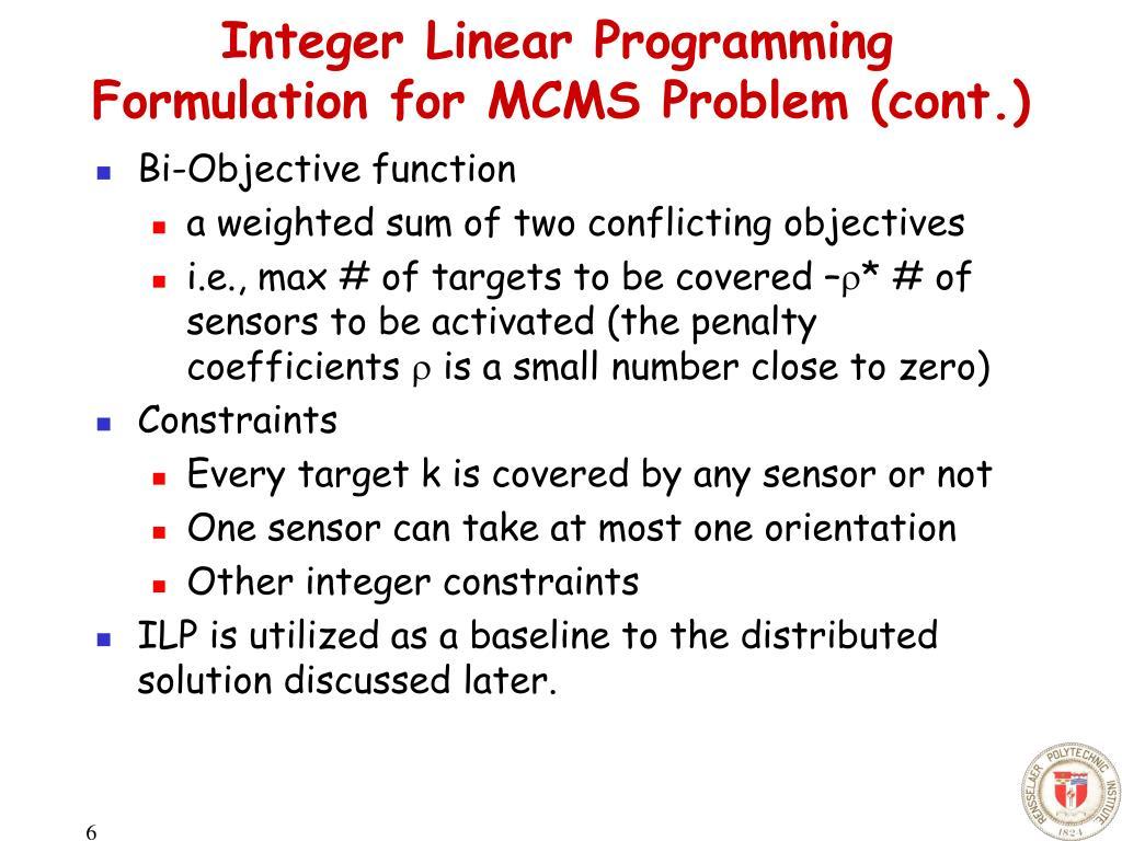 Integer Linear Programming Formulation for MCMS Problem (cont.)