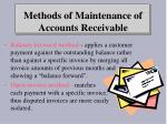 methods of maintenance of accounts receivable
