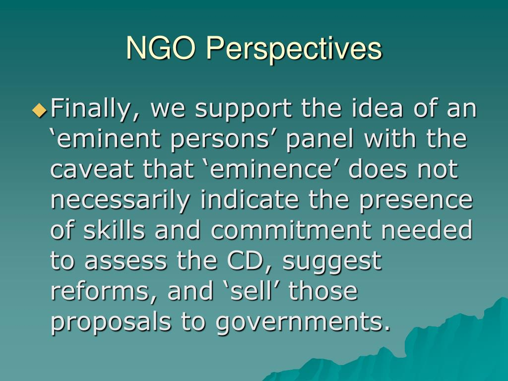 NGO Perspectives