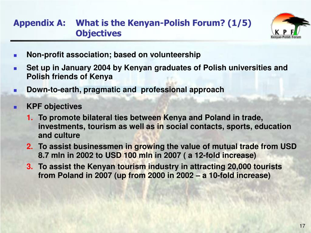 Appendix A: 	What is the Kenyan-Polish Forum? (1/5)