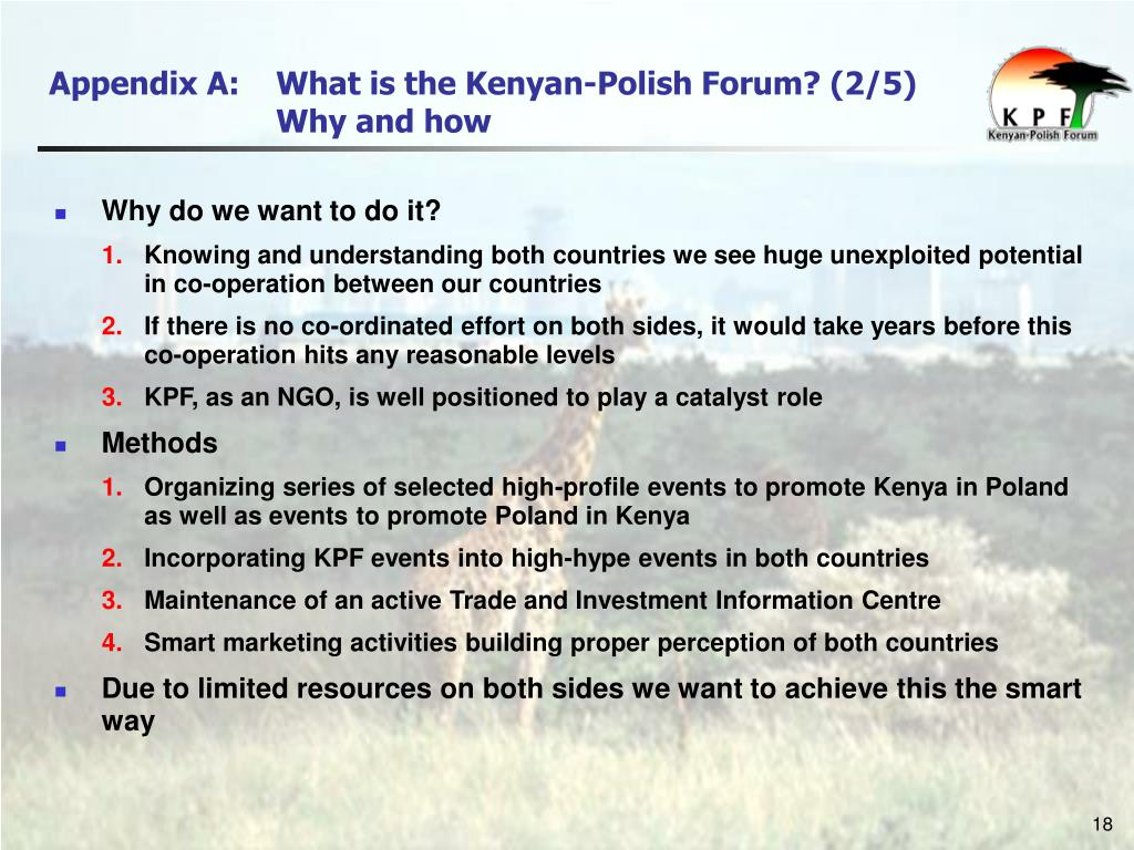 Appendix A: 	What is the Kenyan-Polish Forum? (2/5)
