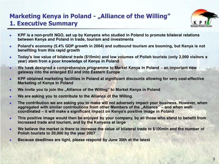 Marketing kenya in poland alliance of the willing 1 executive summary