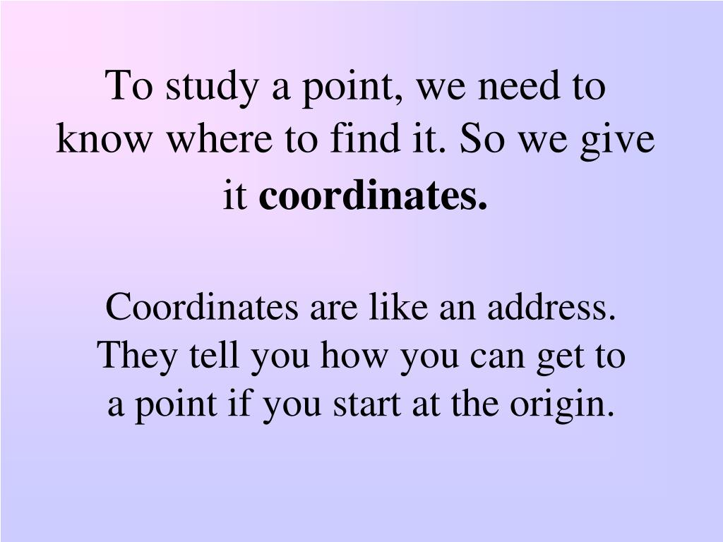 To study a point, we need to know where to find it. So we give it