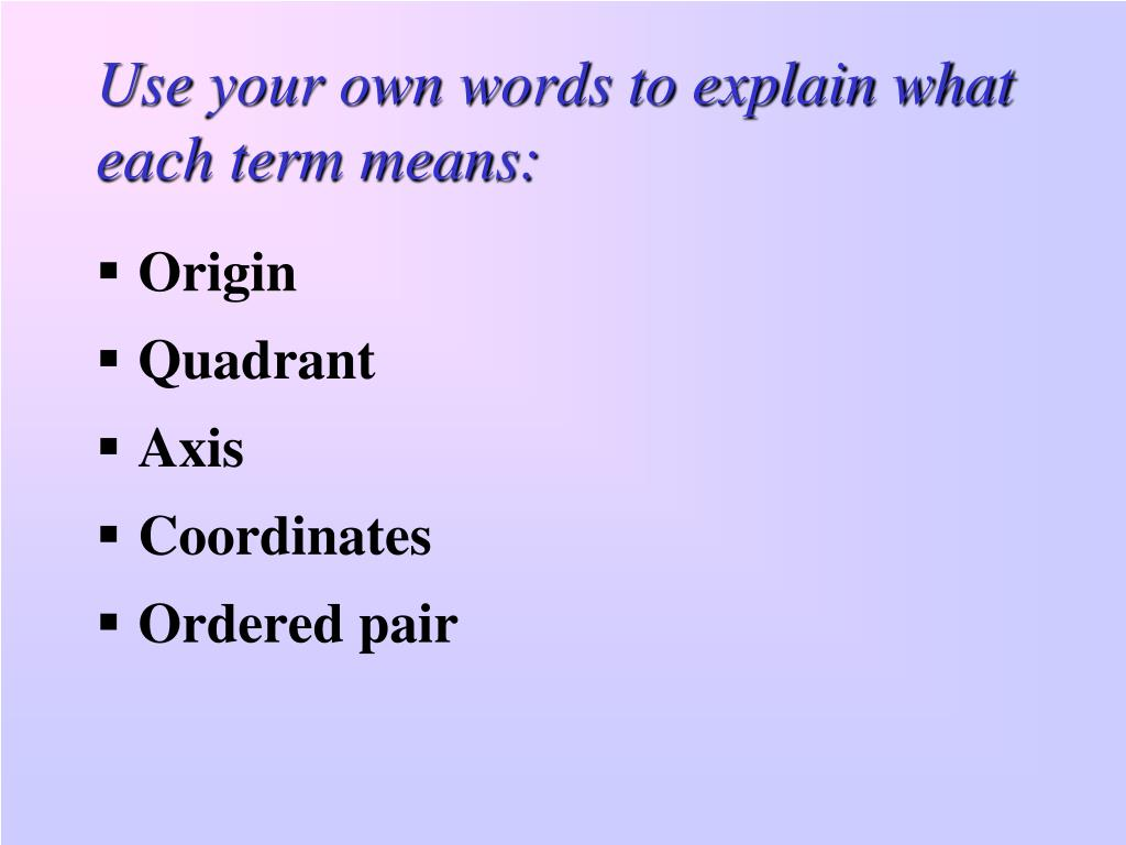 Use your own words to explain what each term means: