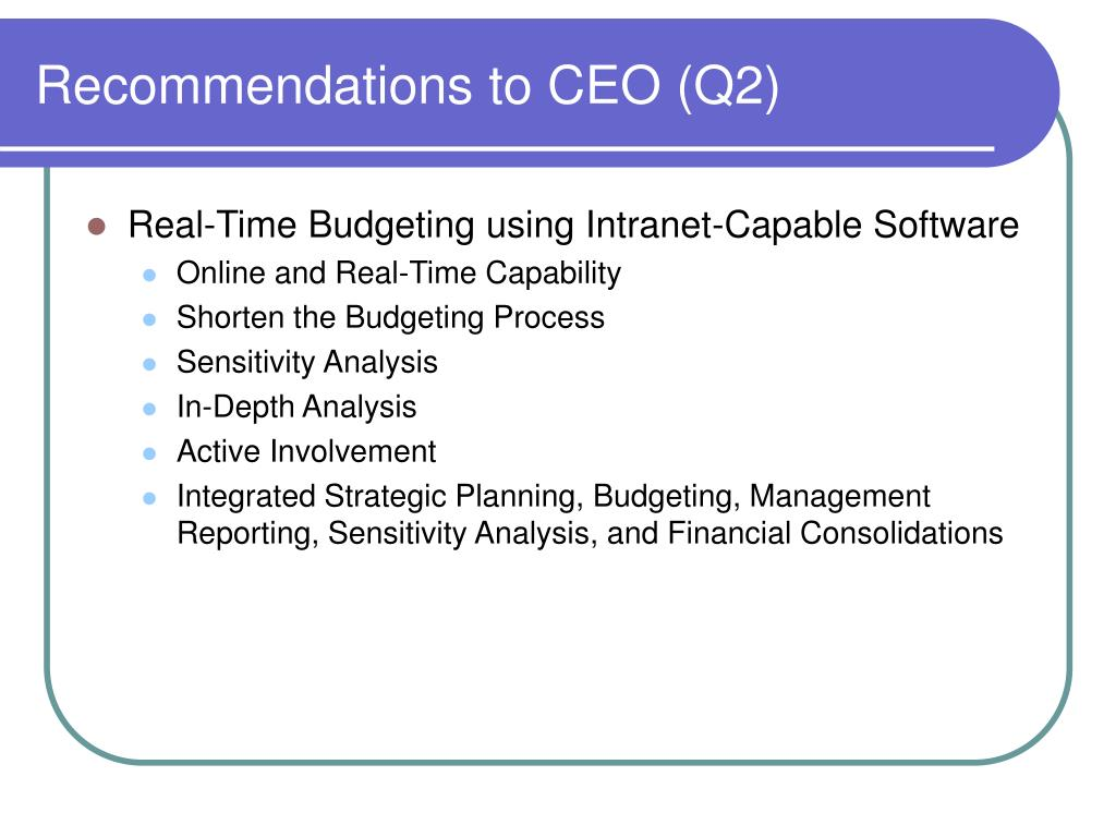 Recommendations to CEO (Q2)