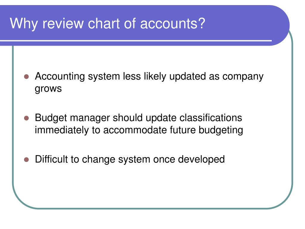 Why review chart of accounts?