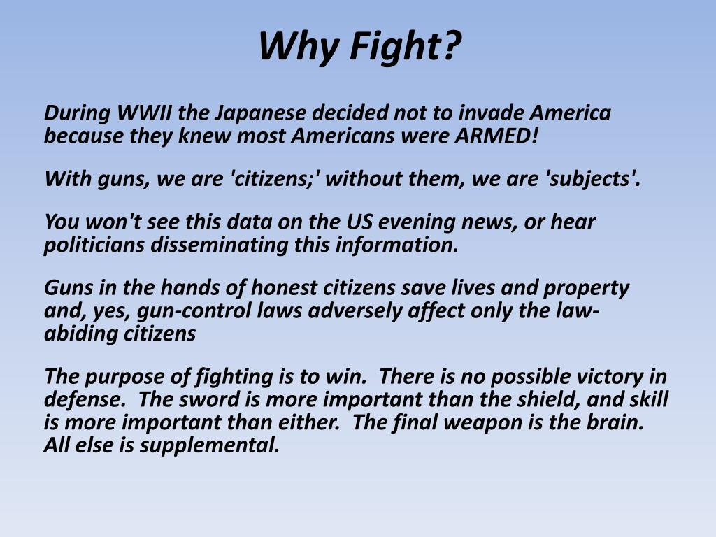 Why Fight?