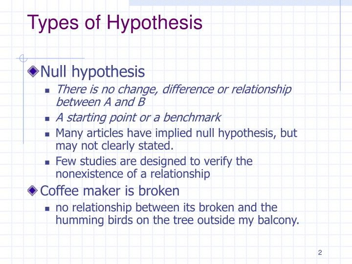 Types of hypothesis