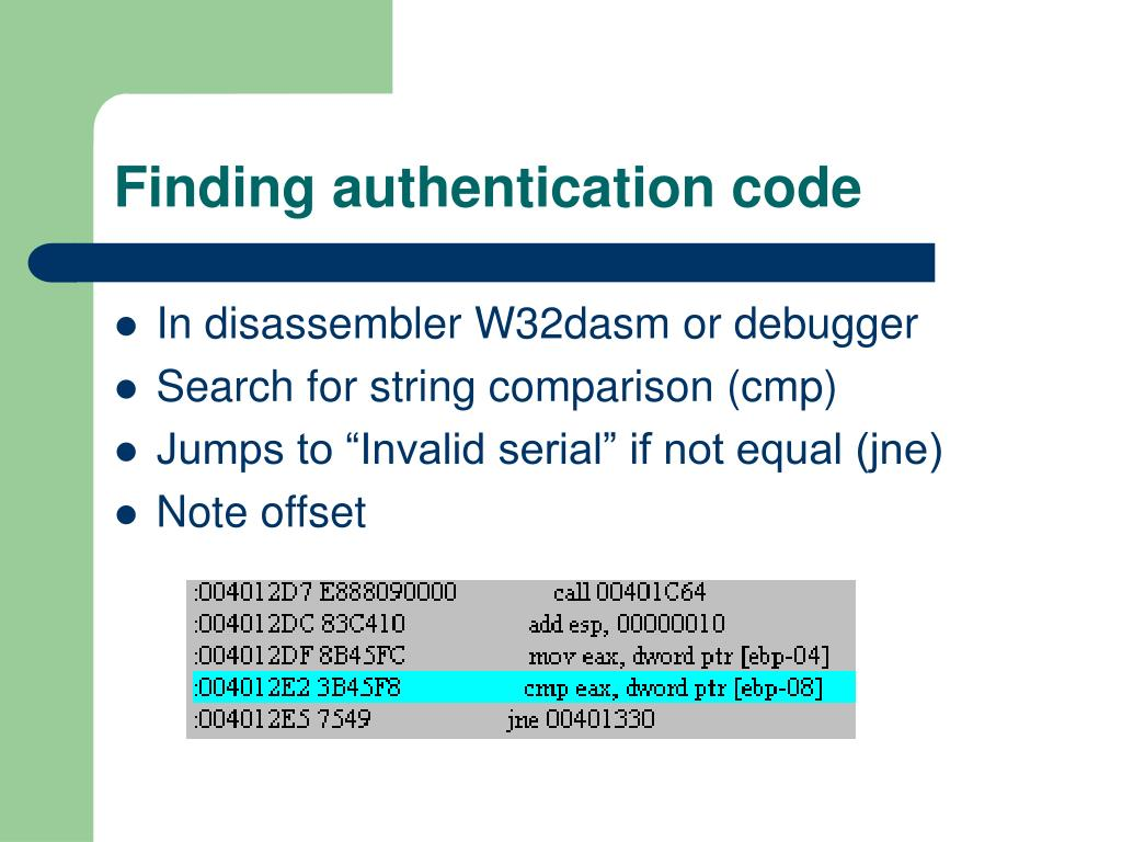 Finding authentication code