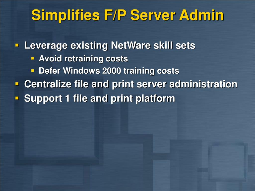 Simplifies F/P Server Admin