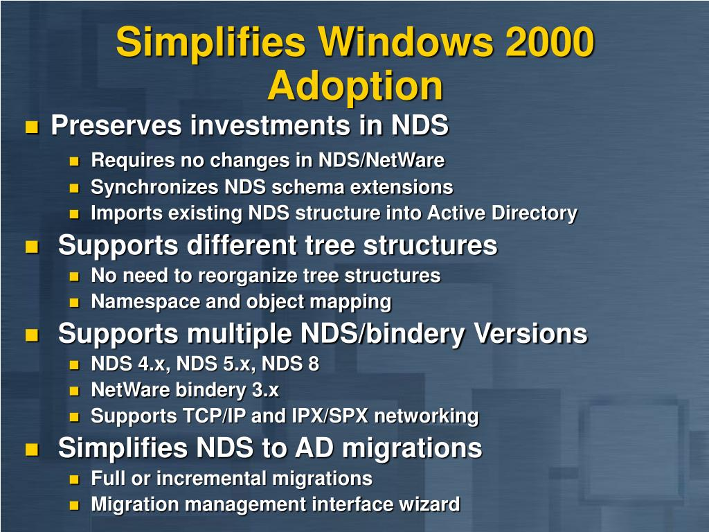 Simplifies Windows 2000 Adoption