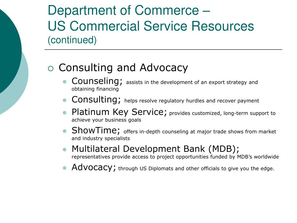 Department of Commerce –