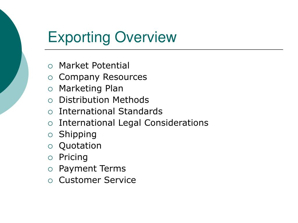 Exporting Overview