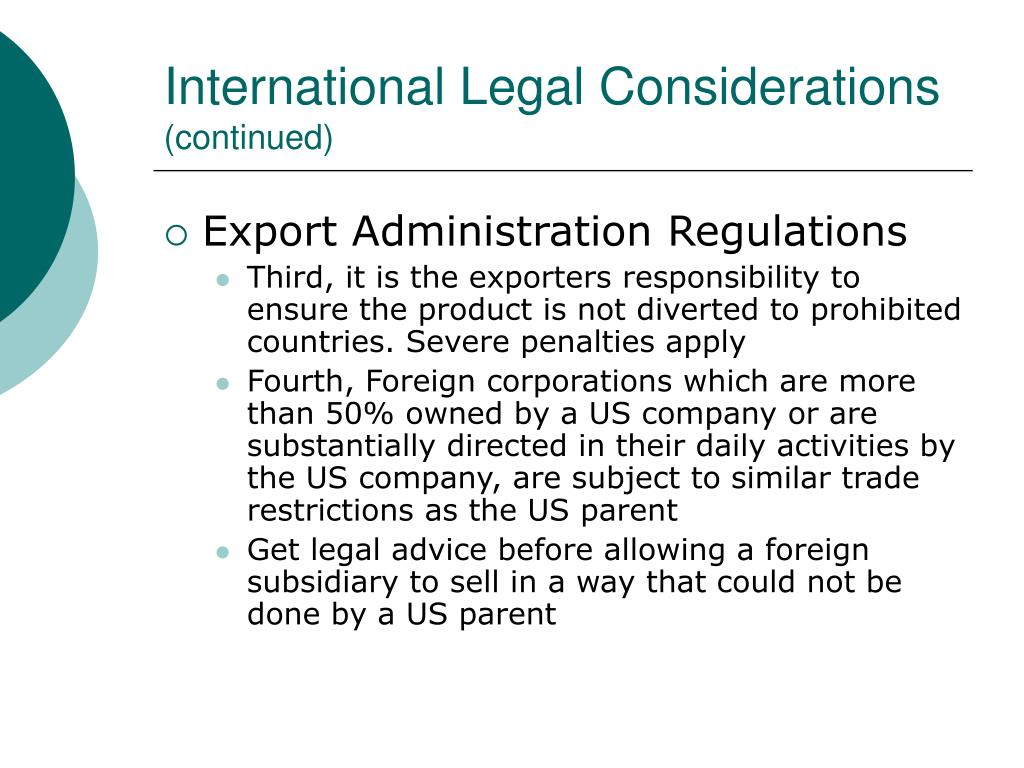 International Legal Considerations
