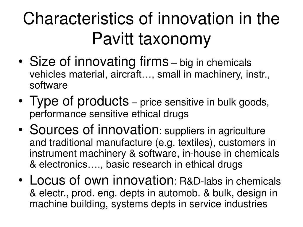 Characteristics of innovation in the Pavitt taxonomy