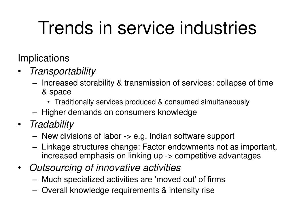 Trends in service industries