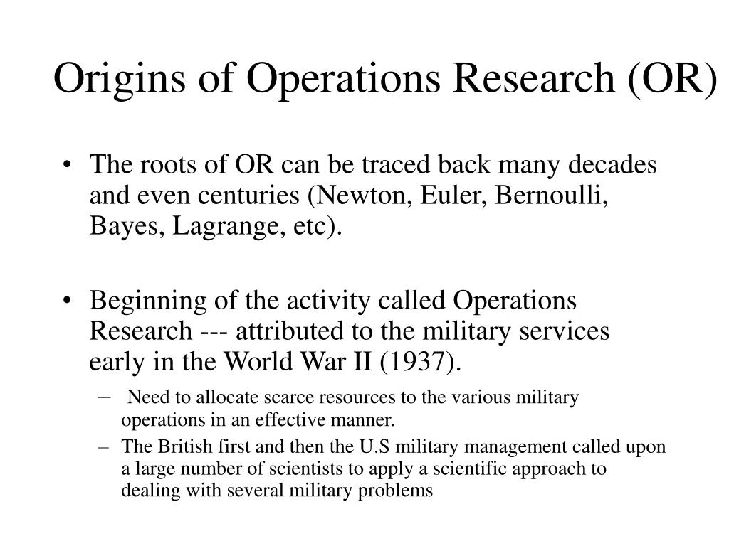 Origins of Operations Research (OR)