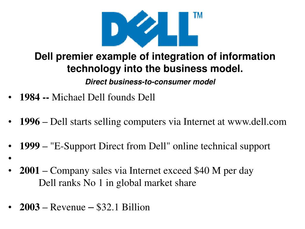 Dell premier example of integration of information technology into the business model.
