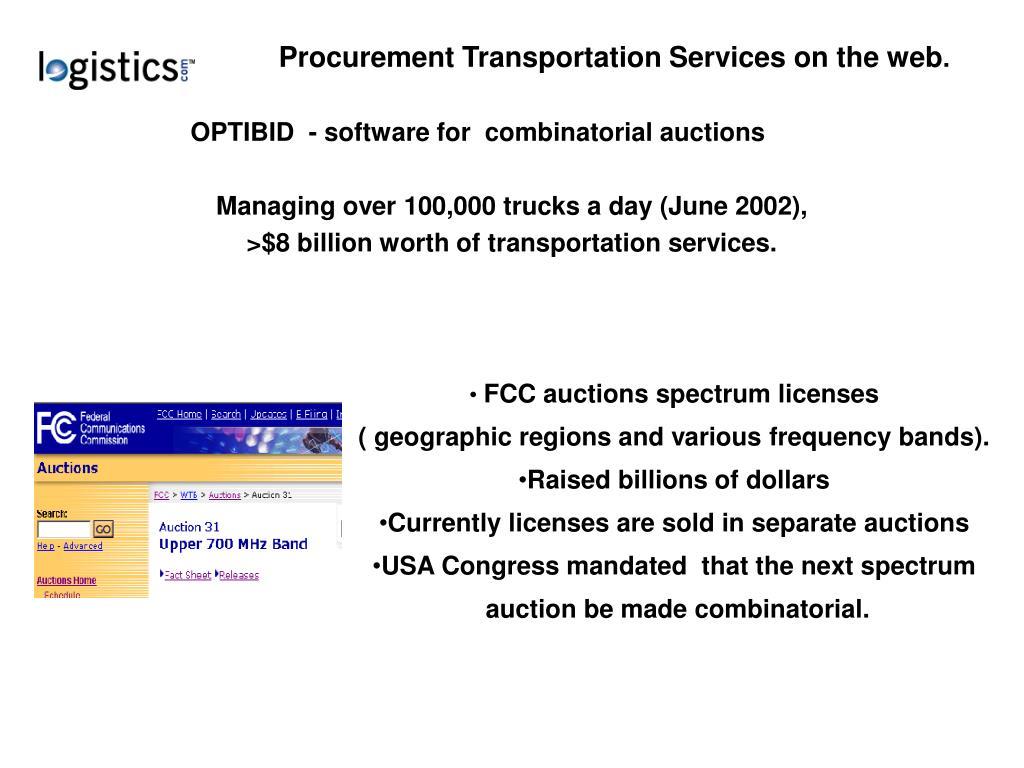 Procurement Transportation Services on the web
