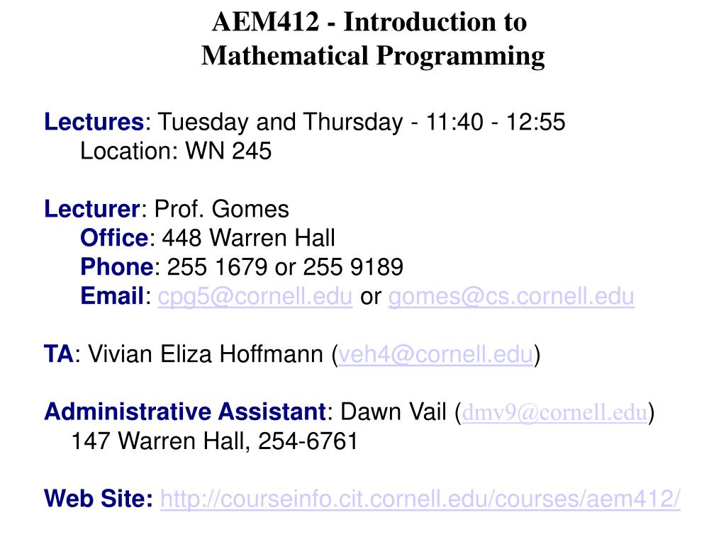 AEM412 - Introduction to