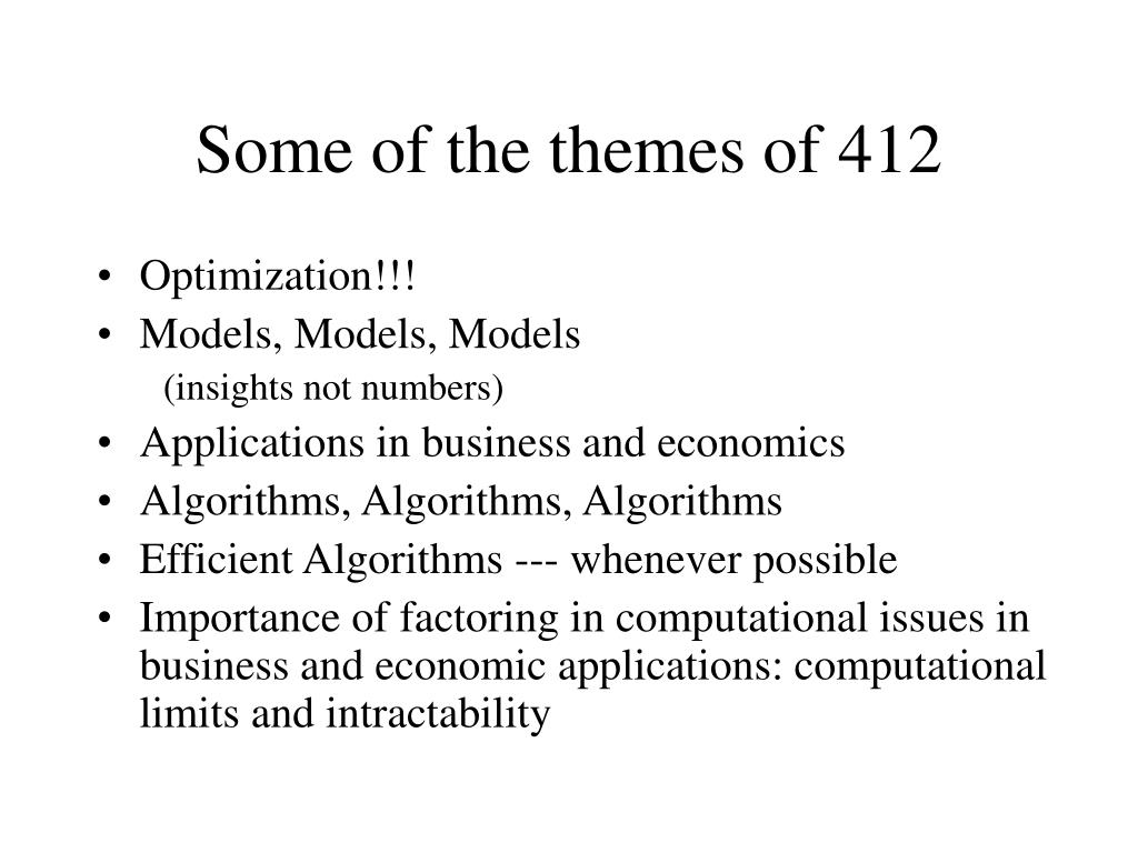 Some of the themes of 412