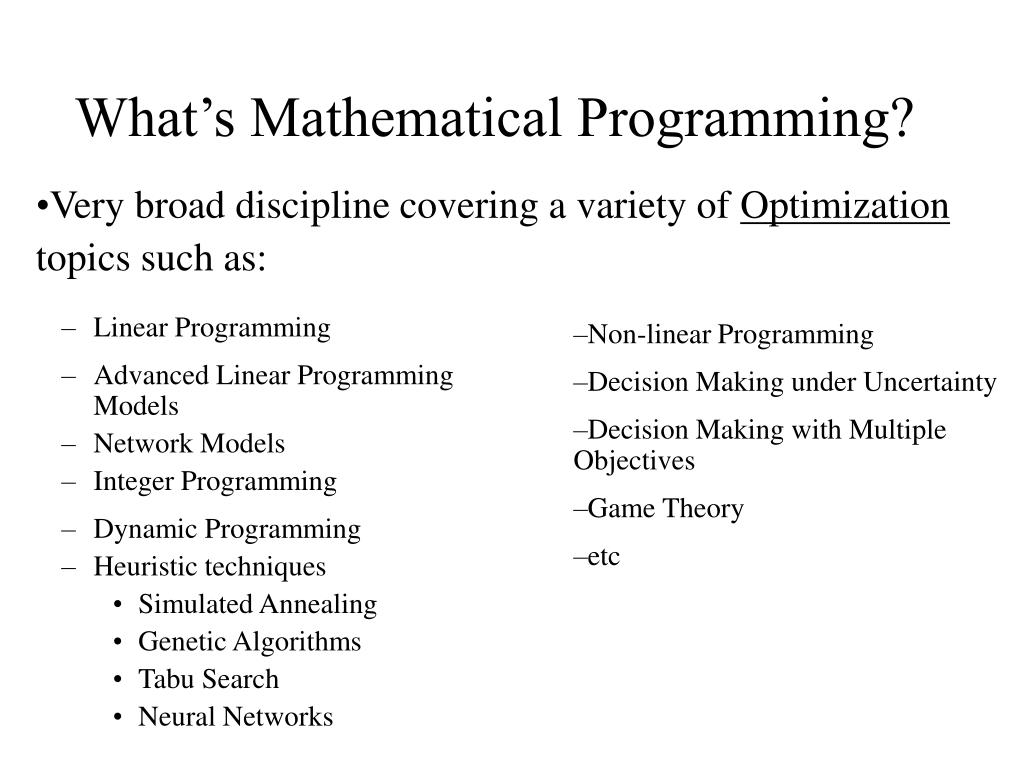 What's Mathematical Programming?