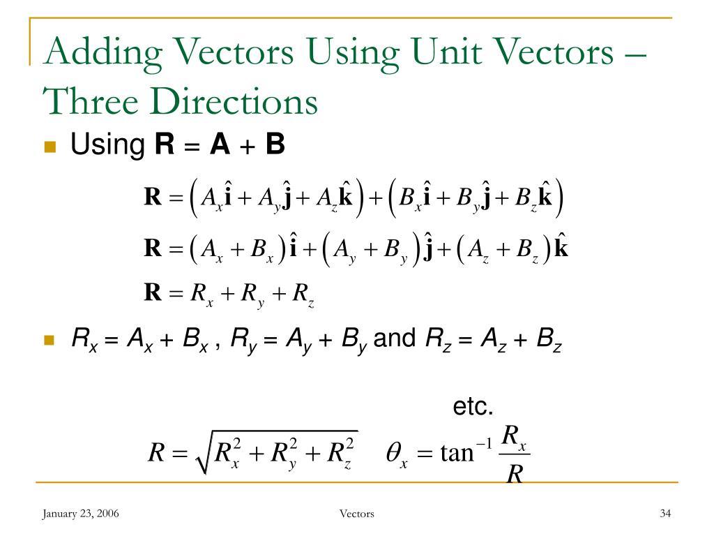 Adding Vectors Using Unit Vectors – Three Directions