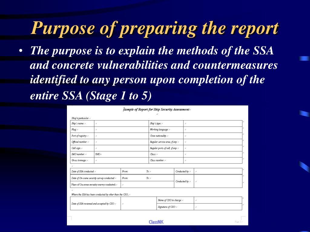 Purpose of preparing the report