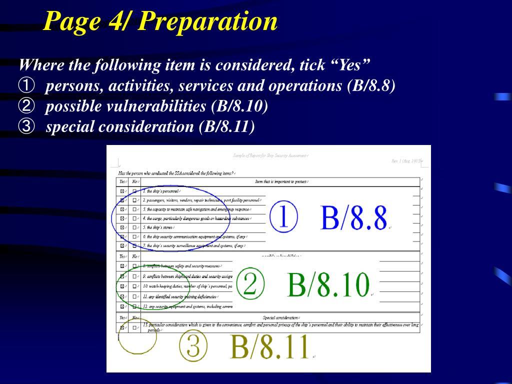 Page 4/ Preparation