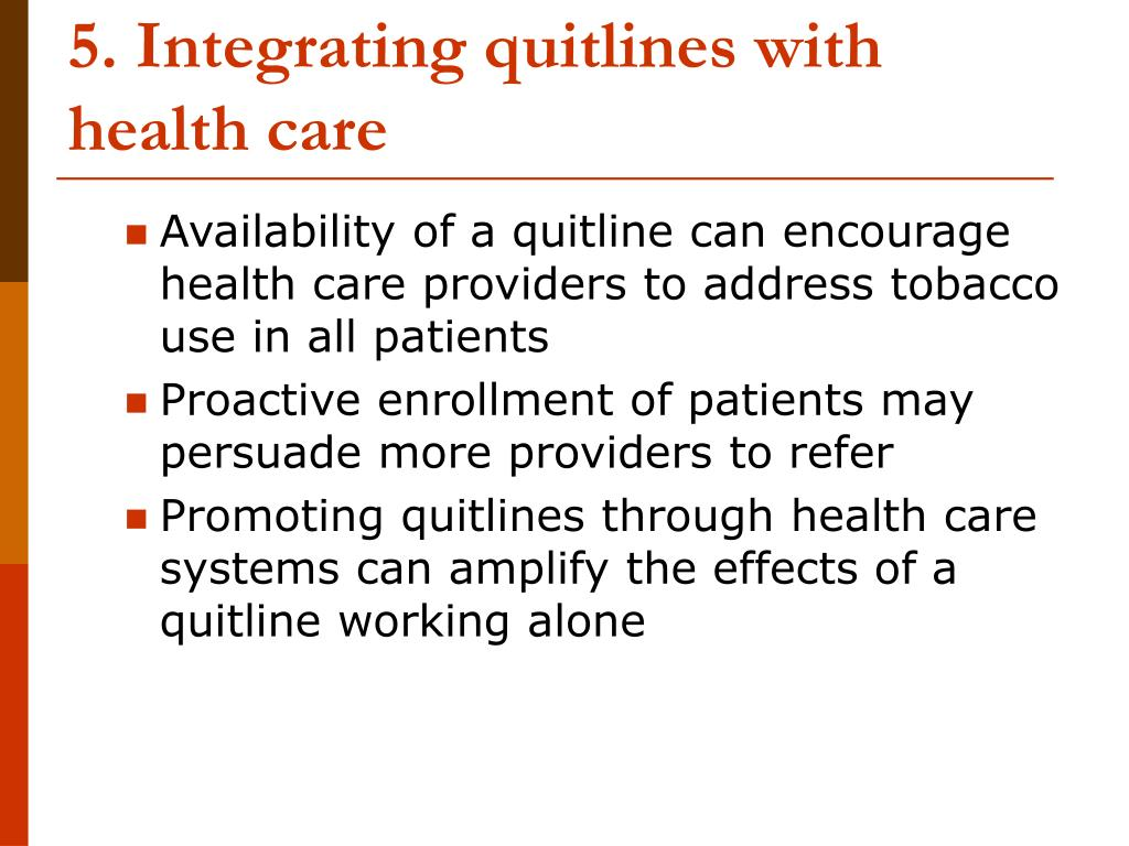 5. Integrating quitlines with