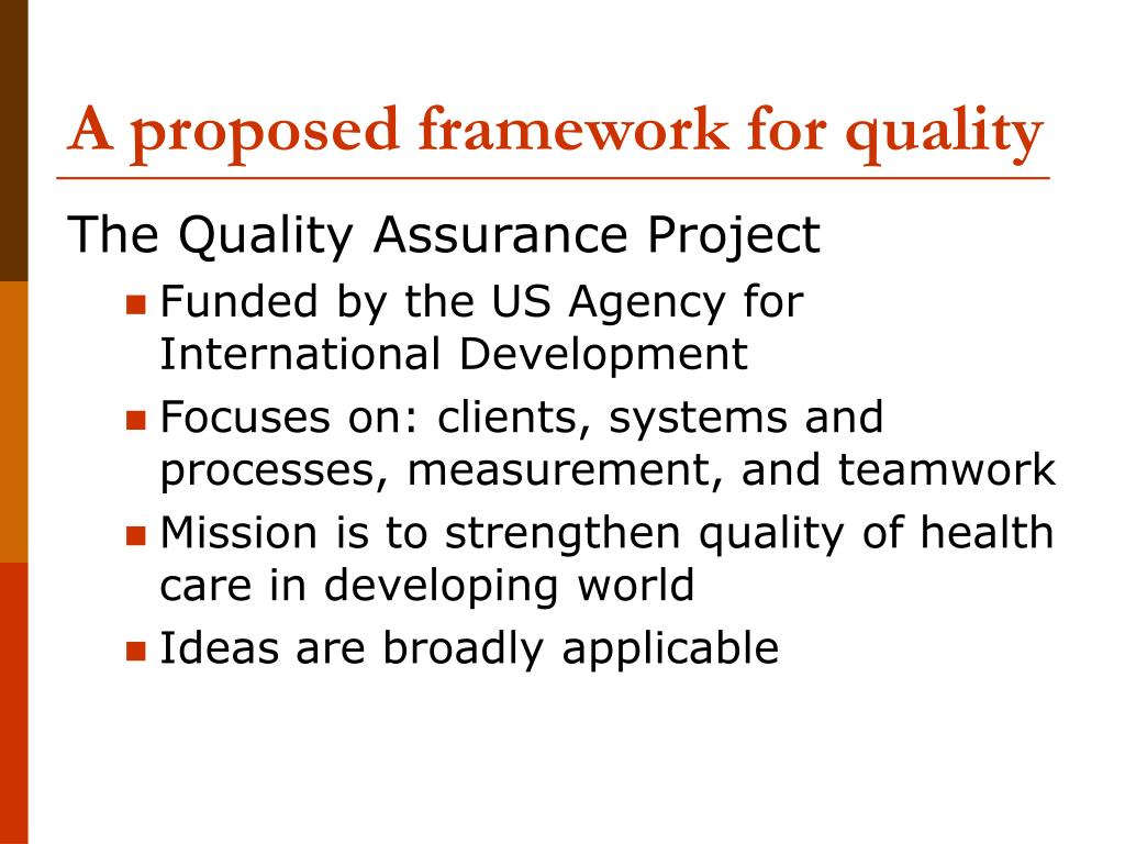 A proposed framework for quality