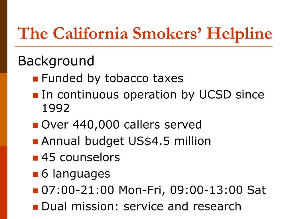 The California Smokers' Helpline