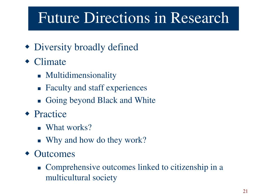 Future Directions in Research