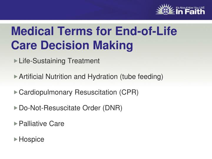 Medical Terms for End-of-Life Care Decision Making