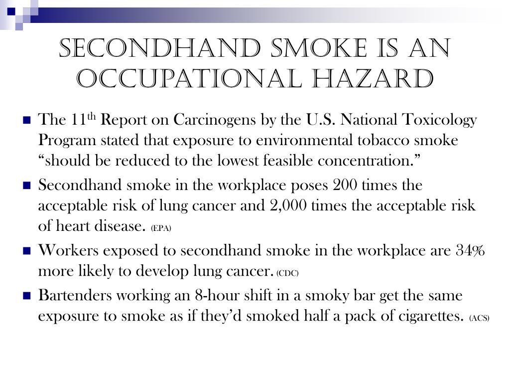 secondhand smoke is an occupational hazard