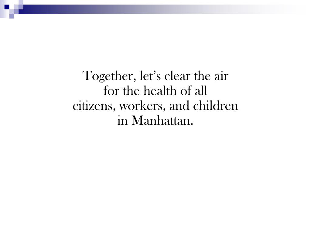 Together, let's clear the air